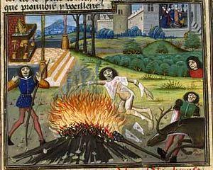 Death of Hercules, Raoul Lefevre, Histoires de Troyes, 15 century