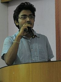 Debjeet with the key note @ Wiki-Academy.jpg