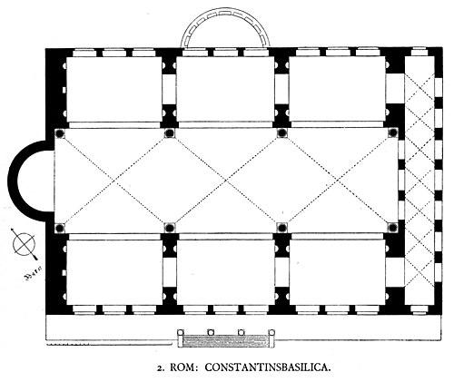 Tlocrt Konstantinove bazilike u Rimu iz 312. g., 23 x 17 m.