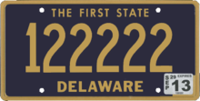 Delaware plate, 2008 series with 2013 sticker.png