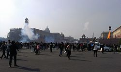 Delhi protests-Rajpath, teargas.jpg