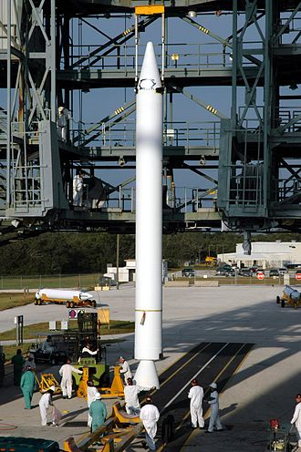 Booster (rocketry) - A GEM-40 strap-on booster for a Delta II launch vehicle.