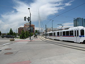 Transportation Expansion Project - RTD-operated Light Rail running near Union Station. Note: This intersection has been removed.