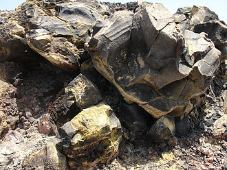 Hydrogen sulfide - Deposit of sulfur on a rock, caused by volcanic gas