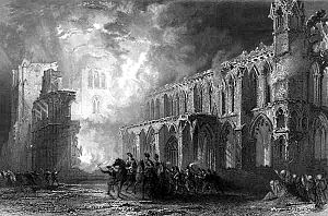 Elgin Cathedral - 19th-century depiction of the burning of Elgin Cathedral