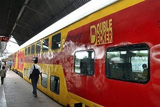 Dhanbad - Double-decker train standing on the platform of Dhanbad railway station