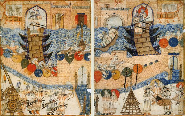 Conquest of Baghdad by the Mongols in 1258 CE. DiezAlbumsFallOfBaghdad.jpg