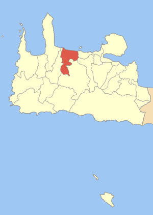 Locator map of Platanias municipality (Δήμος Π...