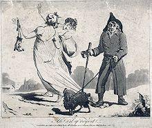 «Ah! Se vedesse!» Stampa satirica anonima del 1797 che raffigura un cieco che lacera inavvertitamente il vestito trasparente di una Meravigliosa che espone così le sue natiche al pubblico.