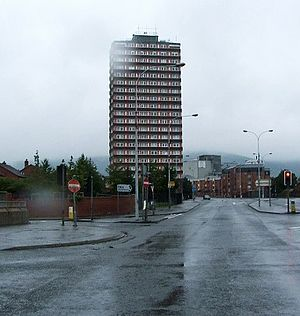 1969 Northern Ireland riots - Divis Tower came under heavy machine-gun fire from the RUC, killing two people