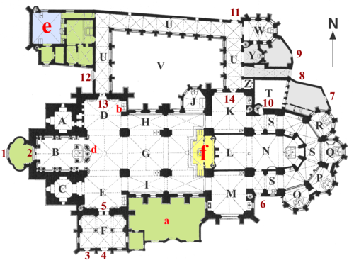 Ground plan c. 1761Letters = Rooms, Numbers = Passageways. Green = Rooms which no longer exist; Yellow = former Apostelgang Blue = former Old Cathedral