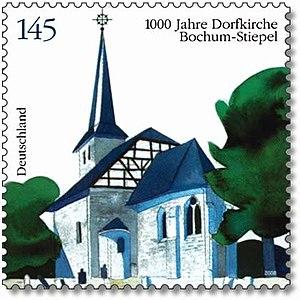 Dorfkirche Bochum-Stiepel Briefmarke 2008