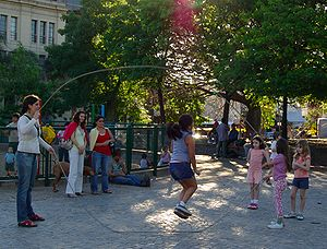 Double Dutch (jump rope) - Children playing double Dutch in Buenos Aires