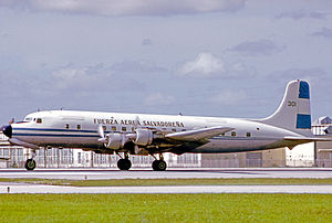 Air Force of El Salvador - Douglas DC-6B of the Fuerza Aerea Salvadorena at Miami in 1975