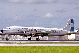 Air Force of El Salvador - Douglas DC-6B of the Fuerza Aerea Salvadoreña at Miami in 1975