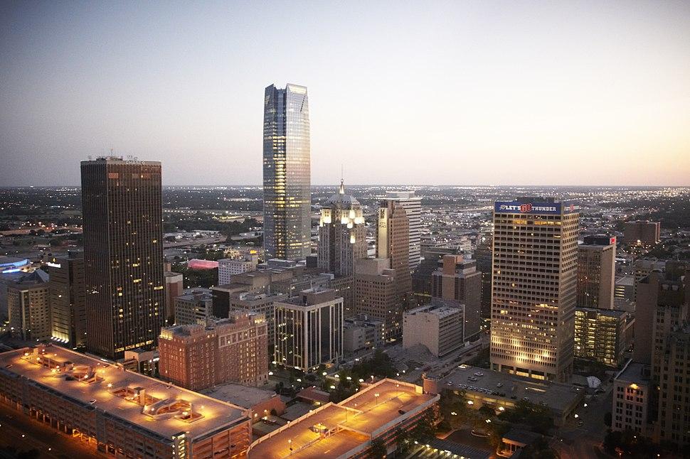 Downtown Oklahoma City skyline at twilight