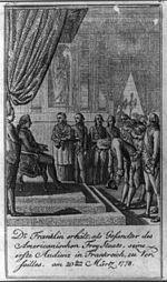 Dr Franklin erhält, als Gesandter des Americanischen Frey Staats, seine erste Audienz in Frankreich, zu Versailles, am 20ten Märtz 1778.jpg