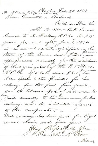 Fitchburg Railroad - Draft letter from 1879 explaining 999 year lease of Vermont and Mass RR to Fitchburg Railroad.
