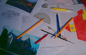 Drawings on a table