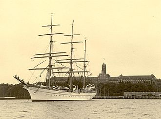 USCGC Eagle (WIX-327) - Horst Wessel in front of Naval Academy Mürwik in Flensburg in 1937
