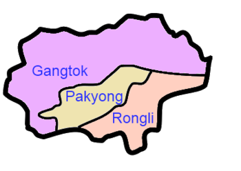 A clickable map of East Sikkim exhibiting its three subdivisions.