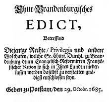 L'editto di Potsdam del 1685