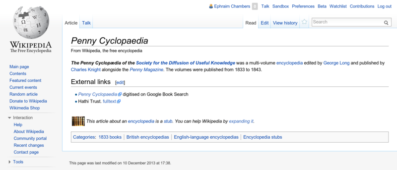 File:Editing Wikipedia screenshot p 12, Penny Cyclopaedia before edit.png