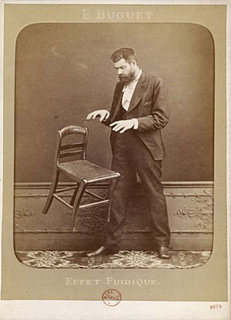 Psychokinesis - Spirit photography hoaxer Édouard Isidore Buguet (1840-1901) of France fakes telekinesis in this 1875 cabinet card photograph titled Fluidic Effect.