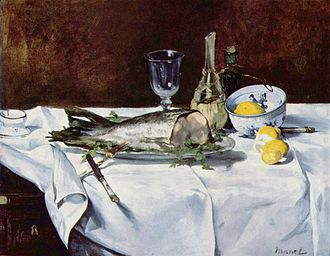 Salmon as food - Still Life with Salmon, 1866-1869, by Édouard Manet, shows a white-fleshed salmon
