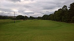 Edzell Golf Club 15th fairway and disused Edzell railway line.jpg