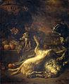 Een aap en een hond bij dood wild en vruchten Rijksmuseum SK-A-463.jpeg