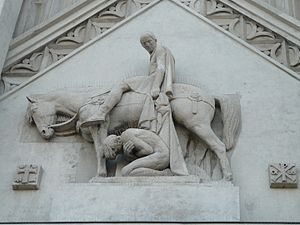 Marcel Gaumont - Sculpture on Masnières church