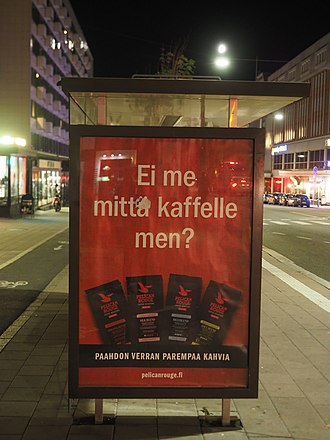 "The Turku dialect is famous for its seemingly inverted questions. For example, ""Ei me mitta kaffelle men? "" looks like it means ""So we don't go for coffees?"" but actually means ""Shall we go for coffees?"" Ei me mitta kaffelle men%3F.jpg"