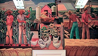 "United States post office murals - ""Texas Farm"" (1940) by Julius Woeltz, in the Elgin, Texas, post office"