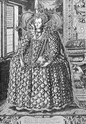 William Rogers (engraver) - Queen Elizabeth Standing in a Room with a Lattice Window, figure of the queen after a drawing by Isaac Oliver, c. 1592