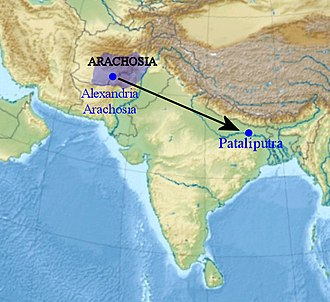 Megasthenes - According to Arrian, Megasthenes lived in Arachosia and travelled to Pataliputra.