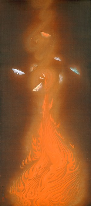 Nihonga - Enbu (炎舞, Dance of Flames) by Gyoshū Hayami, Important Cultural Property (1925)