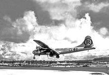 Enola Gay landing at its base