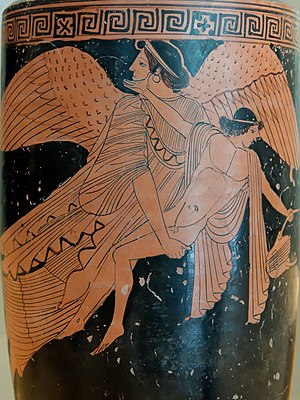 Cephalus - Eos carries off Cephalus, on an Attic red-figure lekythos, ca. 470–460 BCE