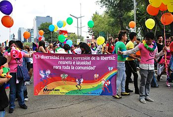English: Group marching for gay rights in the ...