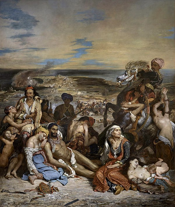 "Le Massacre de Scio (""The Chios massacre"") of tens of thousands of Greeks in 1824 (painting by Eugene Delacroix). Eugene Delacroix - Le Massacre de Scio.jpg"