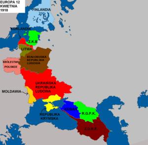 Duchy of Courland and Semigallia (1918) - Image: Europa 12 kwietnia 1918