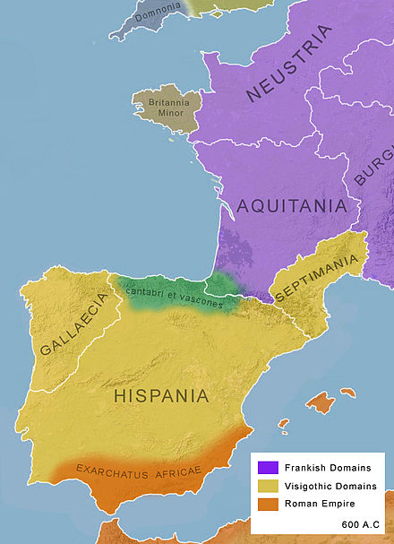 Political map of southwestern Europe around the year 600, which referred to three different areas under Visigothic government - Hispania, Gallaecia, and Septimania Europe-600.jpg