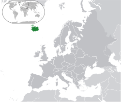 Location of  Iceland  (dark green)on the European continent  (dark grey)  —  [Legend]