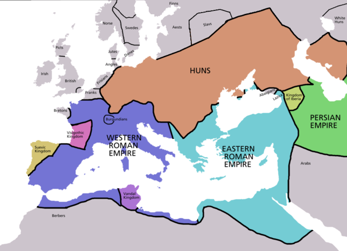 Map of the approximate political boundaries in Europe around 450 AD Europe map 450.PNG