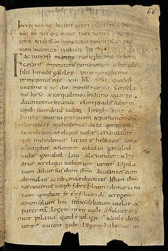 Gospel of Nicodemus - A 9th or 10th century manuscript of the Gospel of Nicodemus.