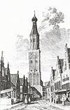 exterieur toren, gravure (nederlands hervormde kerk met omgeving) - enkhuizen - 20263412 - rce