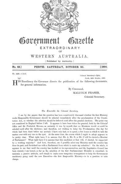 File:Extraordinary Government Gazette of Western Australia (No.48 of 1890).djvu