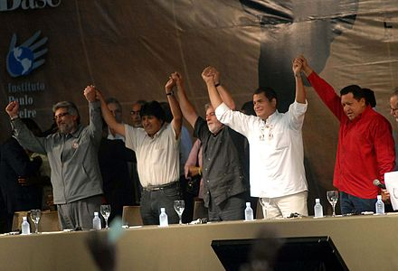 Presidents Fernando Lugo of Paraguay, Evo Morales of Bolivia, Luiz Inácio Lula da Silva of Brazil, Rafael Correa of Ecuador and Hugo Chávez of Venezuela in World Social Forum for Latin America Fórum Social Mundial 2008 - AL.jpg