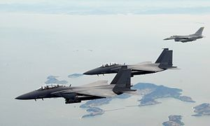 F-15Ks ROKAF with USAF F-16C 2009.jpg